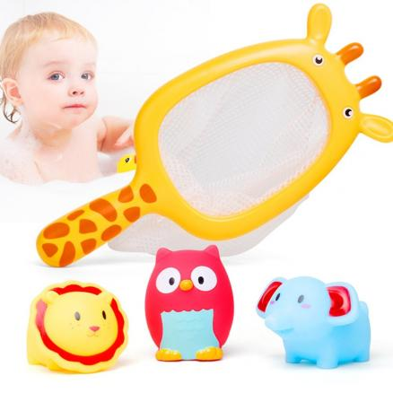 Play Water Baby Bath Toys Rubber Duck Bathroom Toys Floating Fish for Kids Shower Mesh Toy Children 13-24 months
