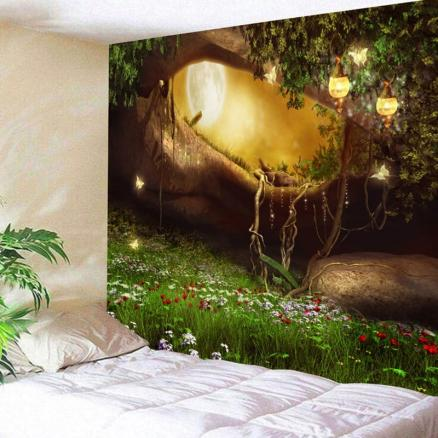 Fantasy Forest Hole Pattern Wall Decor Tapestry