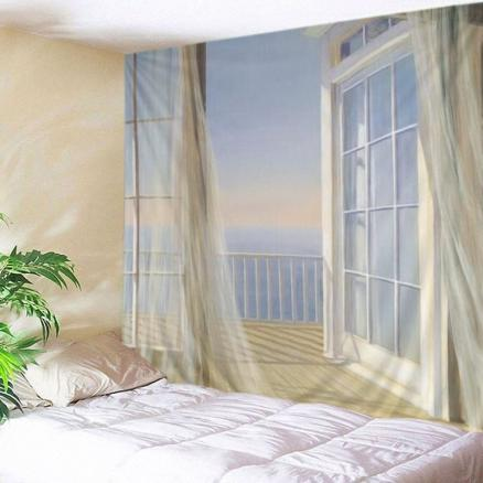 Balcony Ocean Print Tapestry Wall Hanging Art