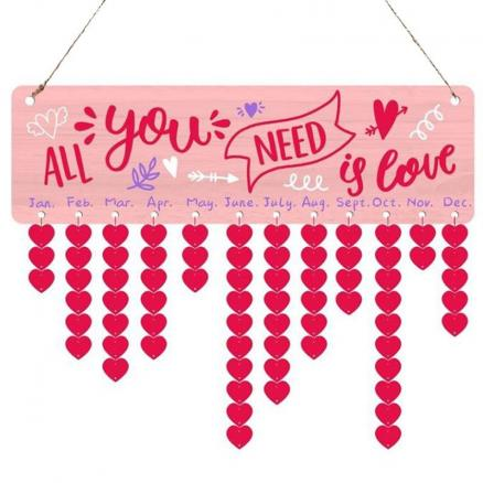 Valentines Day Letter Print Heart Hanging Wooden Calendar Decor