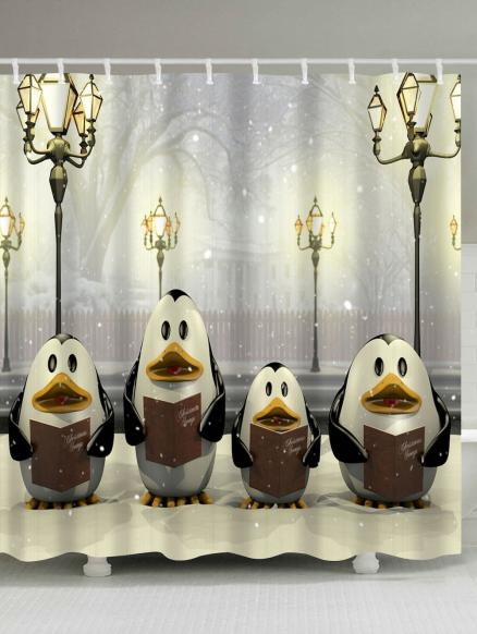 Penguin Christmas Street Lamp Waterproof Bath Curtain