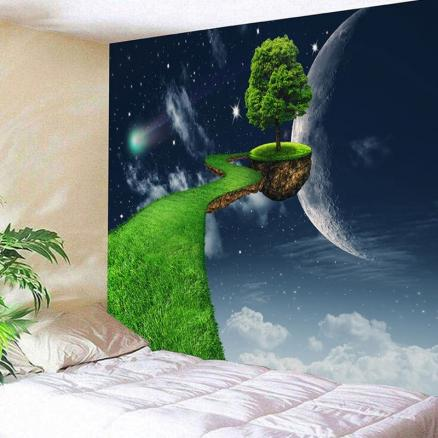 3D Planet Floating Tree Path Pattern Wall Hanging Fantasy Tapestry