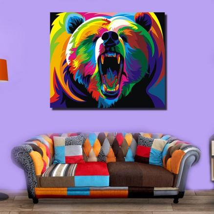 Modern Abstract Canvas Print of Grizzly Frameless Home Decoration