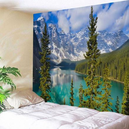 Winter Moraine Lake Printed Wall Tapestry