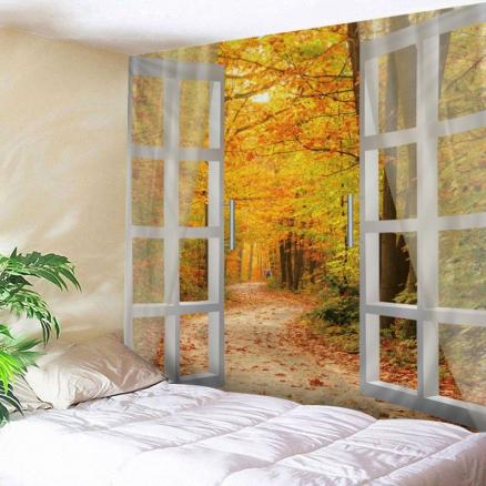 Window Maple Forest Avenue Print Tapestry Wall Hanging Art