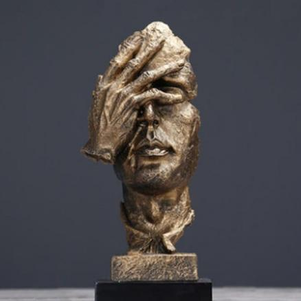 Silence Is Golden Thinker Abstract Sculpture Crafts Art Decoration