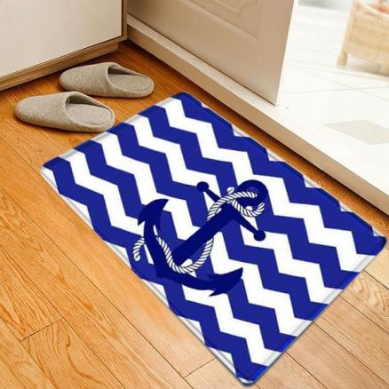 Nautical Anchor Zig-zag Pattern Indoor Outdoor Area Rug