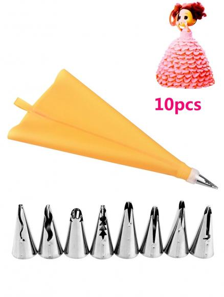 Cake Decorating Squeeze Cream Stainless Steel Piping Nozzle Set