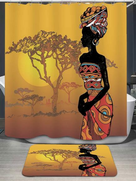 African Beauty Shower Curtain and Bath Rug