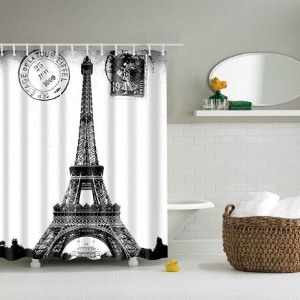 Paris Tower Bathroom Mildewproof Waterproof Shower Curtain