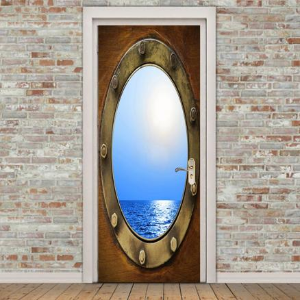 Retro Waterscape Pattern Environmental Removable Door Stickers