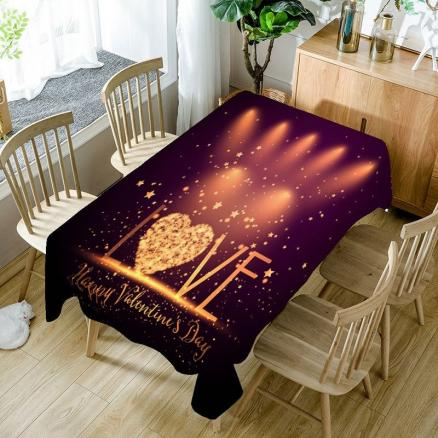 Love Radiance Valentines Day Printed Waterproof Table Cloth