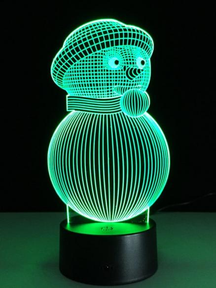 Christmas Festival 3D Snowman Shape Touch Colorful Night Light
