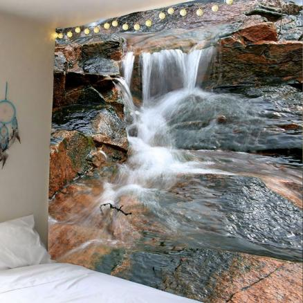 Wall Hanging 3D Valley Flowing Water Printed Tapestry