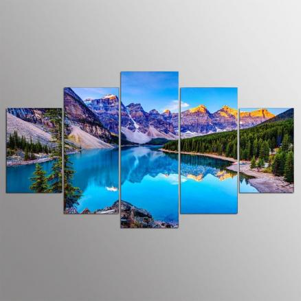 YSDAFEN 5 Panel Hd Moraine Lake Canada Canvas Art for Living Room Wall Picture