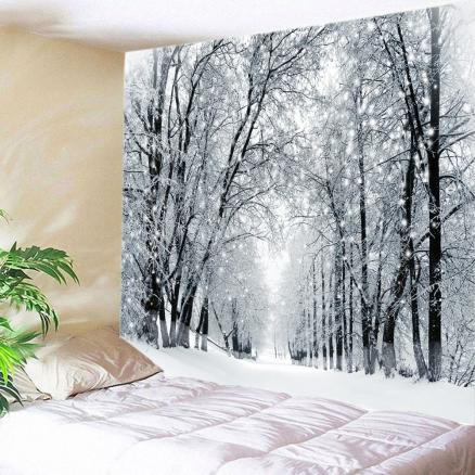 Snowy Forest Avenue Print Tapestry Wall Hanging Art