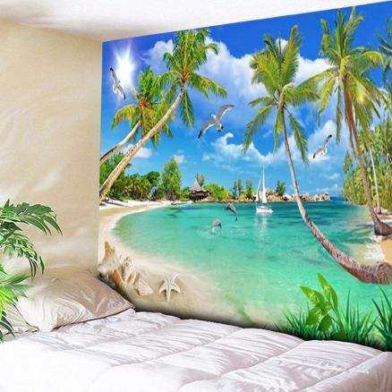 Coconut Palm Island Scenery Wall Hanging Tapestry