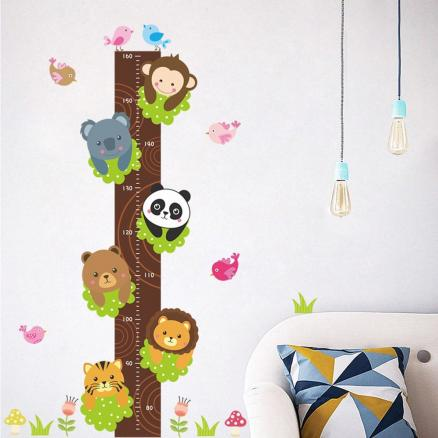 Cartoon Zoo Removable Height Wall Sticker for Nursery