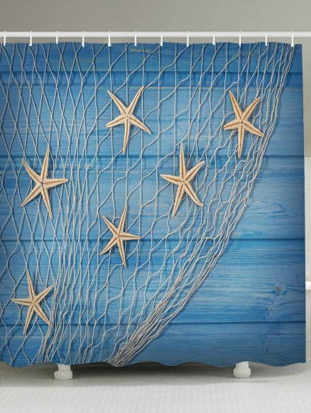 Starfish Fishing Net Wood Grain Nautical Shower Curtain