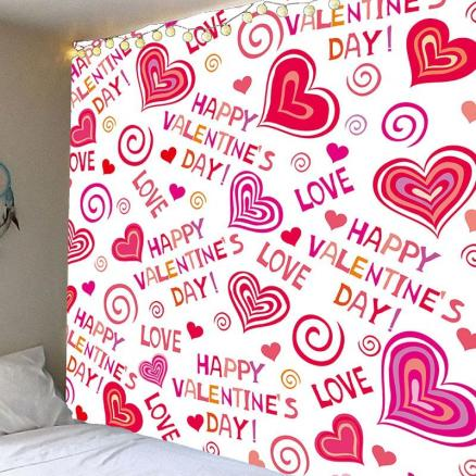 Valentine's Day Full Heart Printed Wall Art Decor Hanging Tapestry