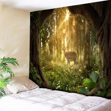 Forest Sunrise and Elk Print Decorative Wall Hanging Tapestry