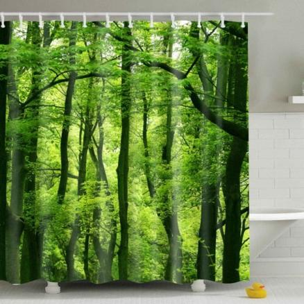 Hot Sale Eco-Friendly Green Woods Printing Shower Curtain For Bathroom