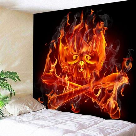 Pirate Flame Skull Print Wall Art Tapestry