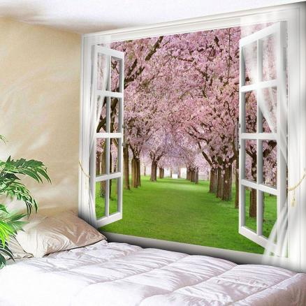 Window Peach Blossom Forest Print Wall Tapestry