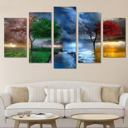 Big Tree In Different Environment Canvas Paintings