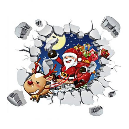 Merry Christmas 3D Santa Claus DIY Room Decoration Wall Stickers