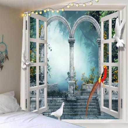 Pigeons Window Scenery Waterproof Tapestry