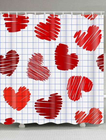 Valentine's Day Checks and Heart Printed Waterproof Shower Curtain