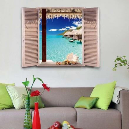Environmental Protection 3D Stereo Seascape Window Design Wall Stickers