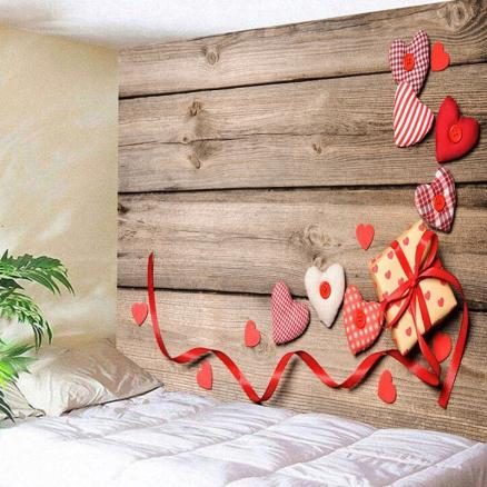 Valentine's Day Gift Hearts Wood Grain Wall Art Tapestry