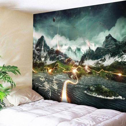 Microfiber Wall Hanging Valley Lightning Printed Tapestry