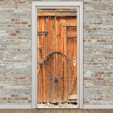 Wooden Door Wheel Printed Eco-friendly Door Stickers