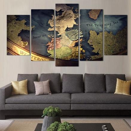 Nautical Maps Pattern Unframed Canvas Paintings