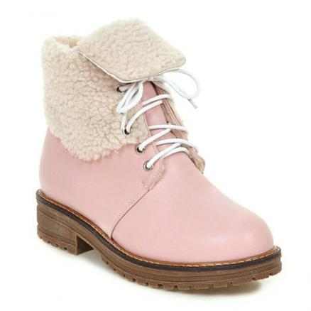 Fold Over Faux Shearling Lined Ankle Boots