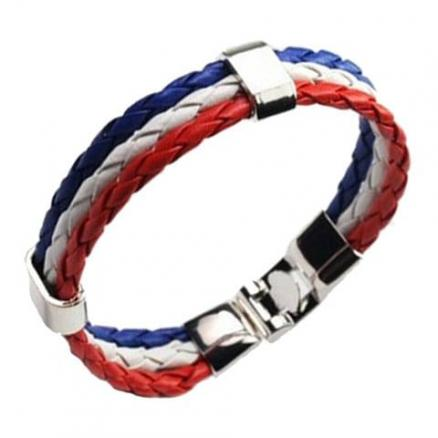 Braided Rope Faux Leather France Bracelet