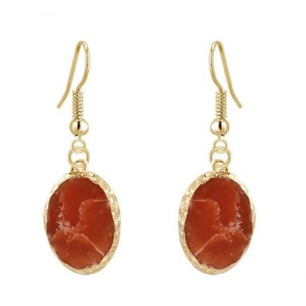 Natural Stone Gold Edged Drop Earrings