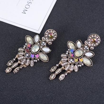 Flower Design Faux Crystal Inlay Boho Drop Earrings