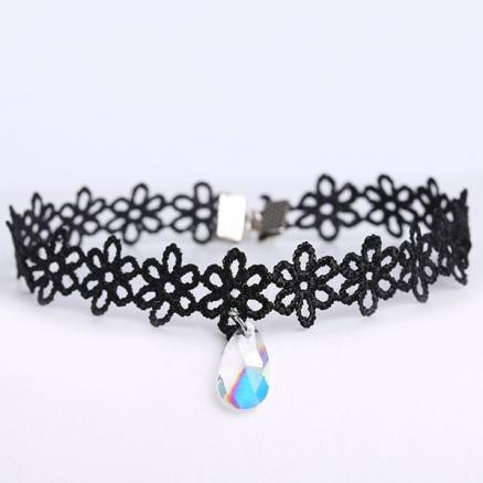 Faux Gemstone Water Drop Floral Choker
