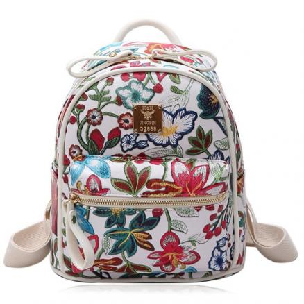 Faux Leather Floral Backpack