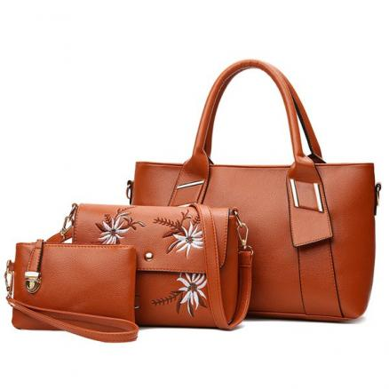 Faux Leather 3 Pieces Handbag Set