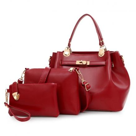 3 Pieces PU Leather Tote Bag Set