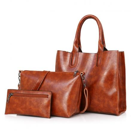 3 Pieces Faux Leather Tote Bag Set