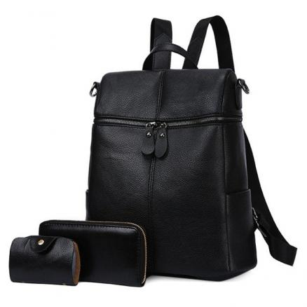 Faux Leather Front Zips Backpack Set