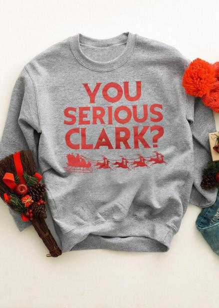 You Serious Clark Christmas Reindeer Sweatshirt - Gray (457314)