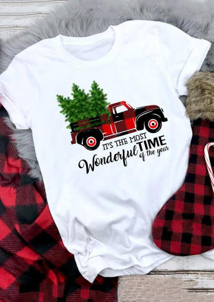 Buffalo Plaid Truck Wonderful Time T-Shirt Tee - White (457792)