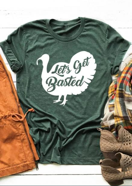 Let's Get Basted Turkey T-Shirt Tee - Green (456679)